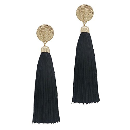 Beautiful Design Thread Tassel Dangle Extra Long Statement Earrings Jet Black Color