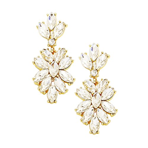 Marquise Rhinestone Statement Drop Earrings (Clear)