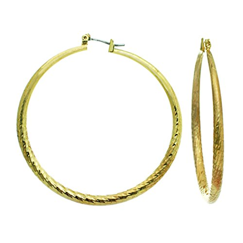 Surgical Steel Post Large Hoop Earrings (Gold Color)