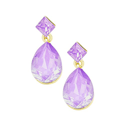 Opalescent Glass Crystal Square Teardrop Dangle Earrings (Purple)