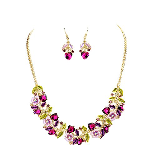 Flower and Vine Glass Crystal Necklace and Earrings Gift Set (Purple)