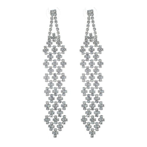 Long crystal rhinestone statement chandelier earrings silver tone long crystal rhinestone statement chandelier earrings silver tone aloadofball Choice Image