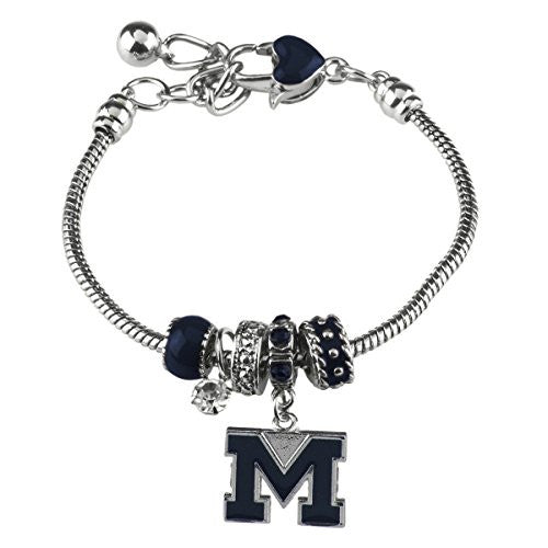 Beaded Charm Bracelet Michigan Wolverines