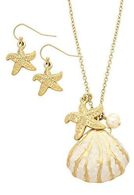 Starfish Shell Faux Pearl Pendant Necklace Earrings Set Gold Tone