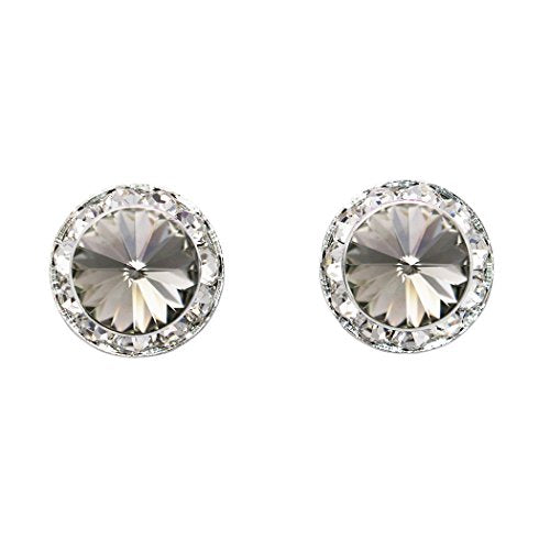 Swarovski Crystal Petite Statement Clip On Earrings (Silver Tone/Black Diamond)
