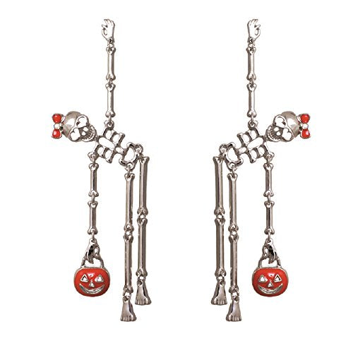 Dancing Skeletons Halloween Earrings Silver Tone