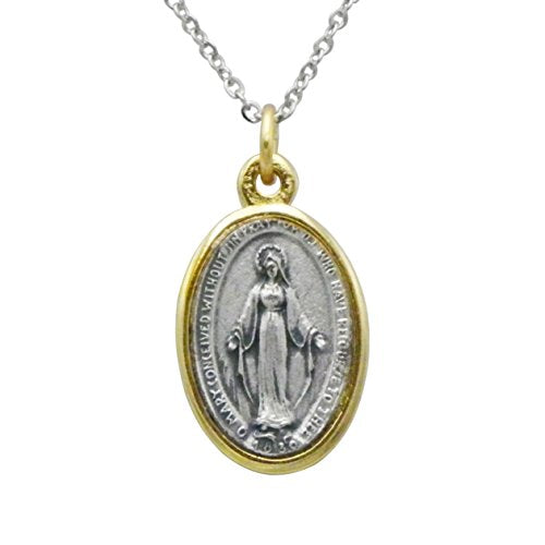 Religious Two Tone Miraculous Medal Pendant Necklace