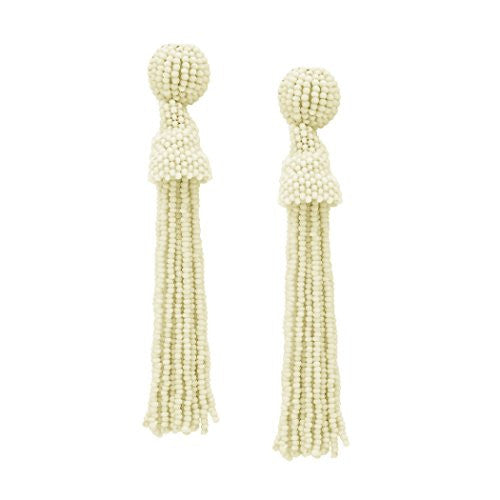 Glass Seed Bead Tassel Drop Earrings (White)