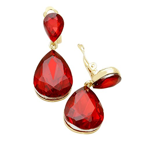Double Teardrop Crystal Statement Clip On Earrings  (Gold Tone/Red)
