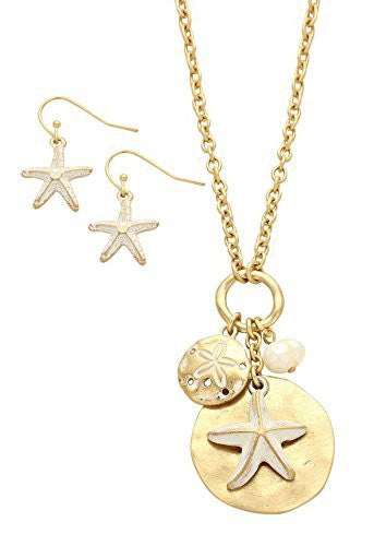 Starfish Sand Dollar Faux Pearl Pendant Necklace Earrings Set Gold Tone
