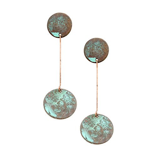 Double Circle Drop Patina Color Fashion Earrings