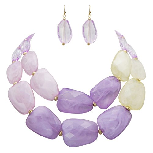 Ombre Polished Resin Statement Necklace Earring Set (Lavender Purple)