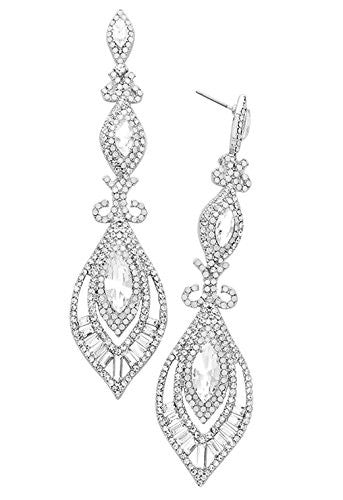 Victorian Art Deco Faceted Crystal Statement Earrings (Silver)