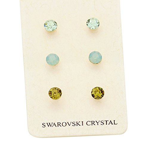 3 Pairs Swarovski Crystal Stud Earrings (Green and Blue)