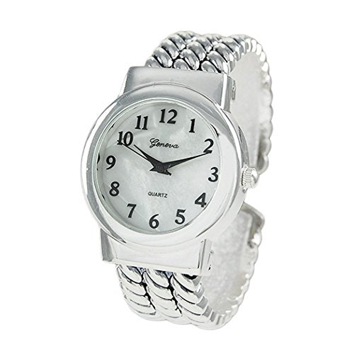 Mother of Pearl Rope Bracelet Cuff Watch (Silver)