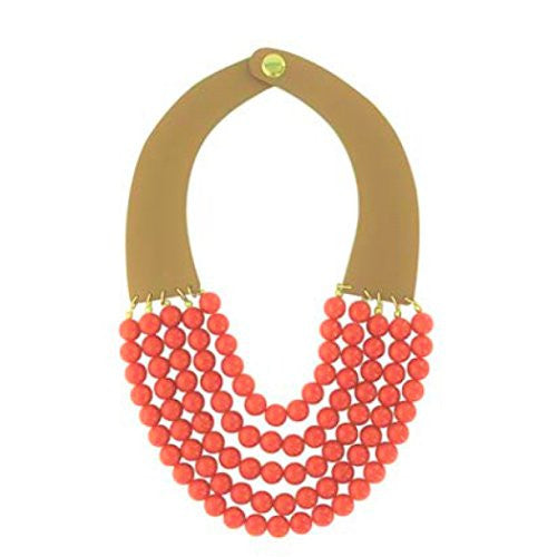 Multi Strand Beaded Collar Necklace (Coral Color)