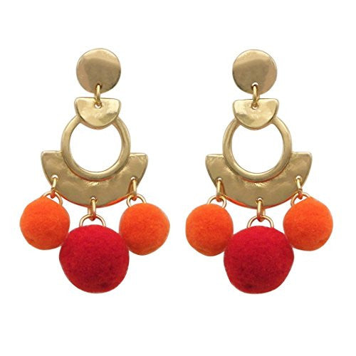 Metal Hoop and Fuzzy Pom Pom Statement Dangle Earrings (Orange)