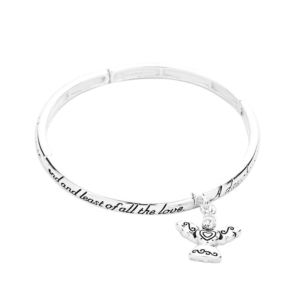 Precious Daughter's Blessing Stretch Bangle Silver Tone Bracelet with Angel Charm