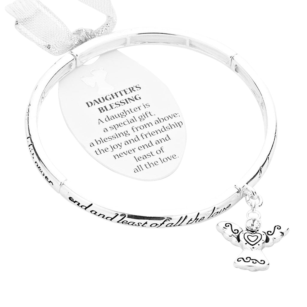 Daughter's Blessing Stretch Bangle Silver Tone Bracelet with Angel Charm