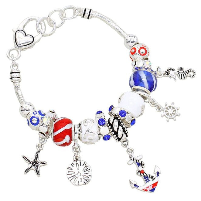 Patriotic Nautical Theme Beaded Charm Bracelet