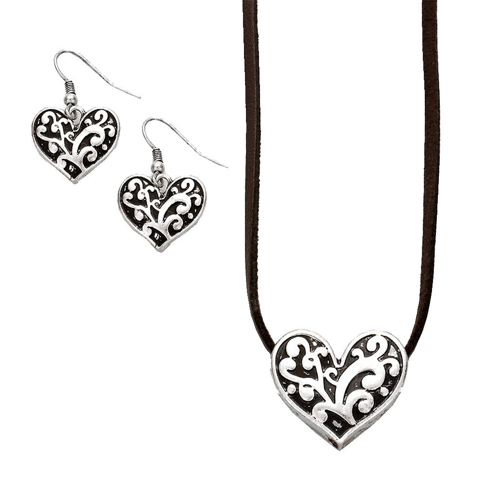 Filigree Heart Suede Leather Necklace and Earrings Set Brighton Style