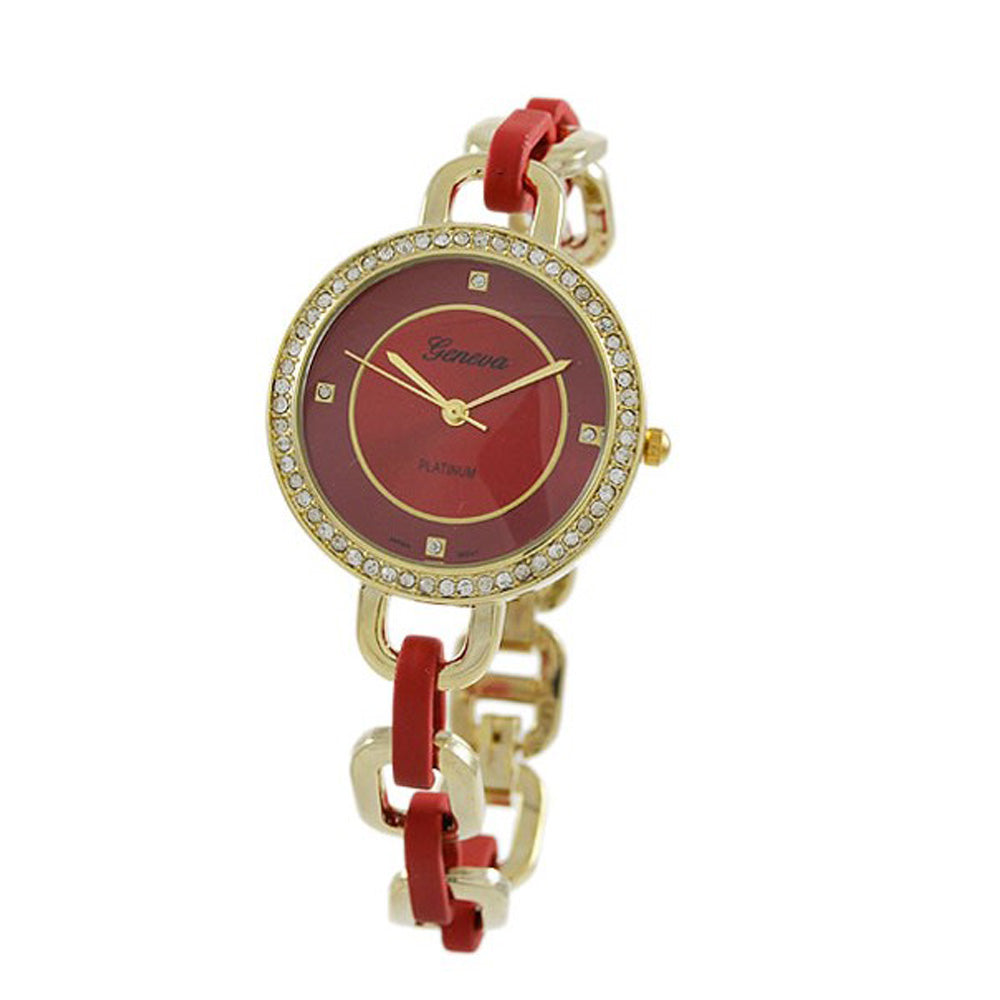 Fashion Stylish Crystal Surround Round Face Colored Link Band Bracelet Watch