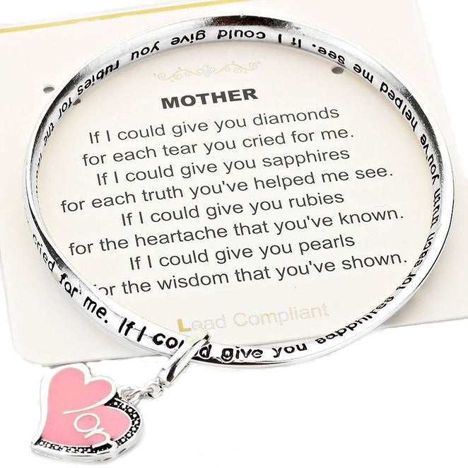 "Mother ""If I Could Give You Diamonds"" Twist Bangle Dangle Charm Bracelet"