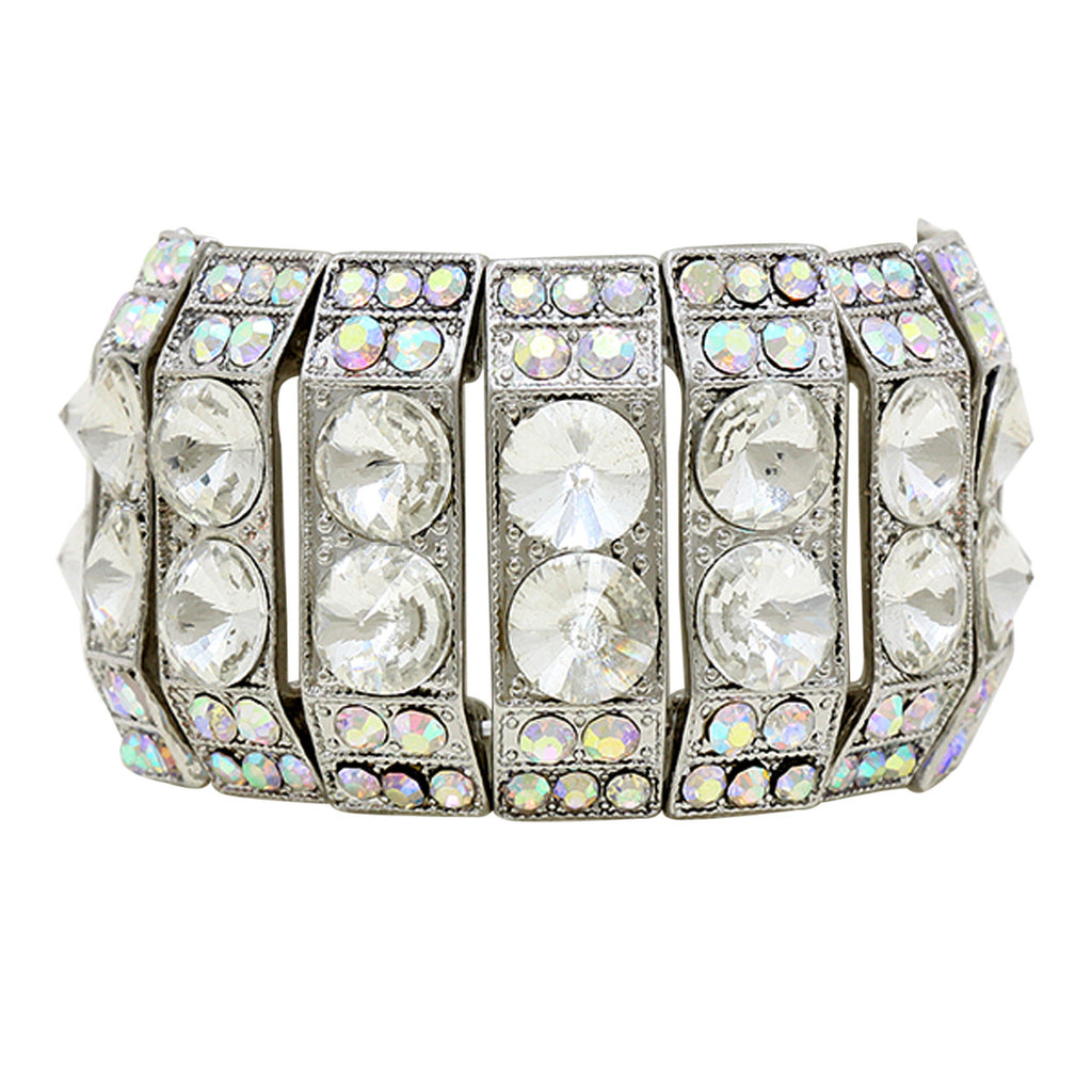 Crystal Fashion Statement Stretch Bracelet Silver Color