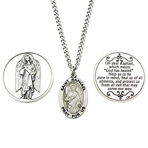 Rosemarie Collections Saint Raphael the Archangel Pendant Necklace and 2 Religious Pocket Tokens