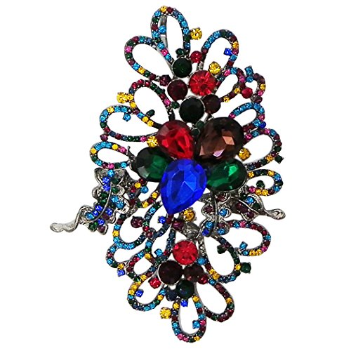 Beautiful Oversize Style Leaf and Flower Crystal Brooch Pin (Jewel Tones)