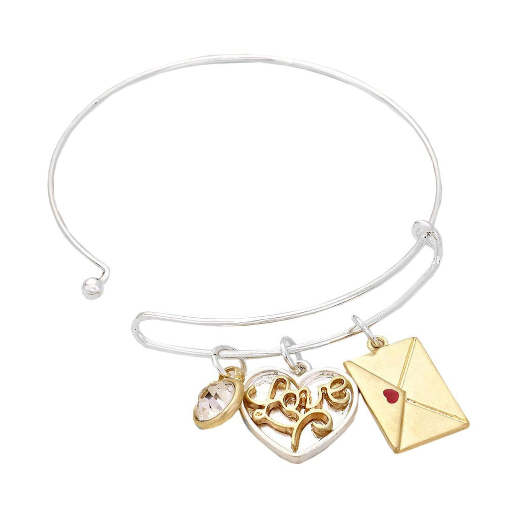 Silver and Gold tone Love Heart Envelope Charm Bangle Bracelet