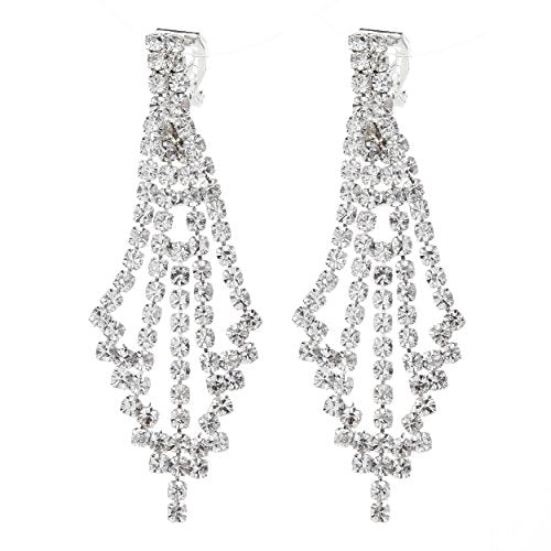 Comfortable Long Rhinestone Chandelier Clip On Dangle Earrings