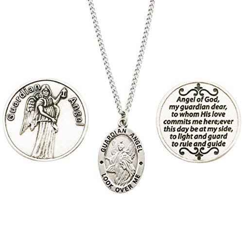 Rosemarie Collections Saint Pendant Necklace and 2 Religious Pocket Tokens (Guardian Angel)