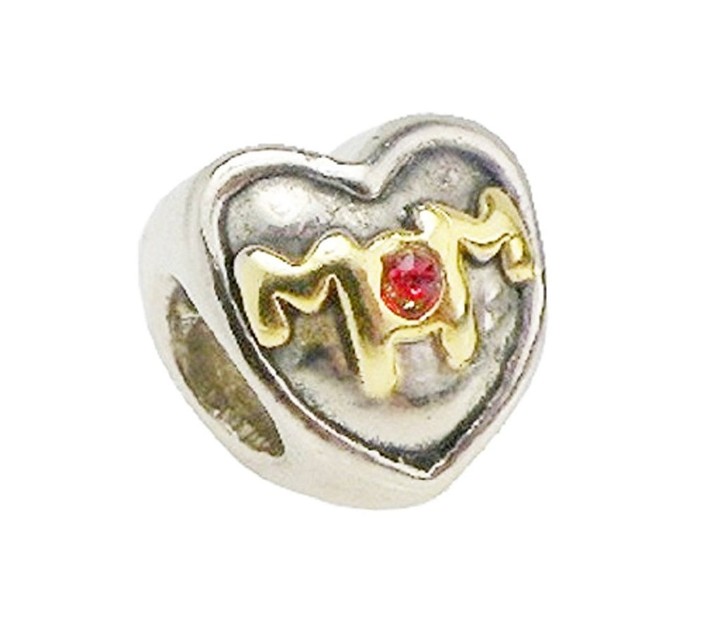 Gold and Silver Mom Heart with Red Crystal Pandora Style Bead