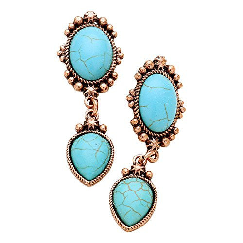 Burnished Copper and Turquoise Fashion Drop Earrings