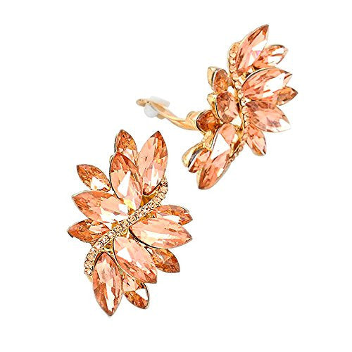 Crystal Cluster Statement Clip On Earrings (Gold Tone Peach)