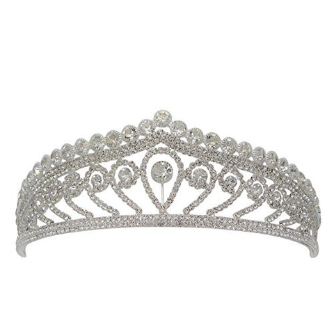 Birthday Girl Tiara Head Band Silver and Clear Rhinestone