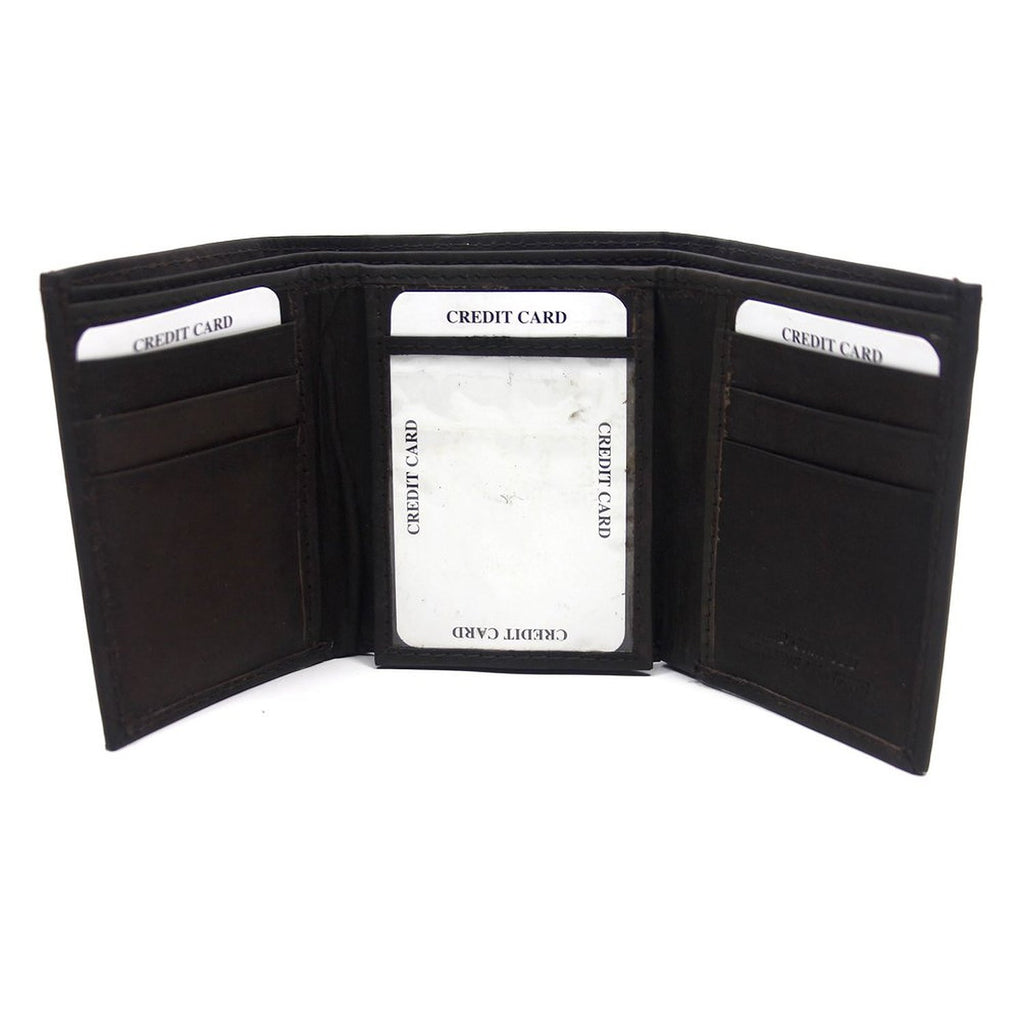 Mens Bi Fold Black Leather Wallet