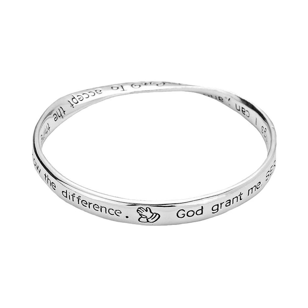 Serenity Prayer Scripted Twist Bangle Bracelet Silver Tone