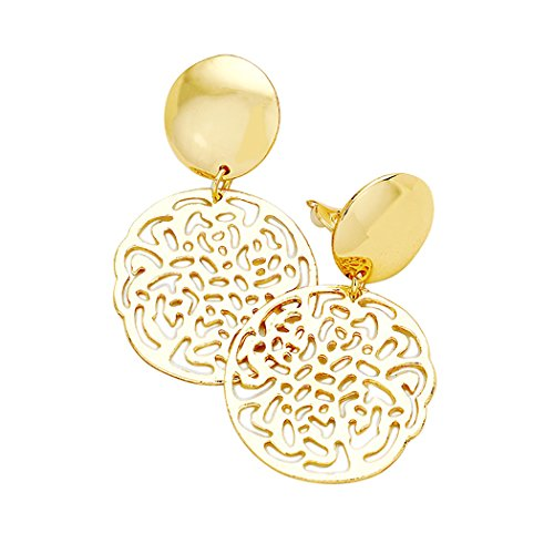 Filigree Dangle Drop Clip On Statement Earrings (Gold Tone)