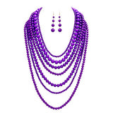 Fashion Jewelry Set Beaded Multi Strand Bib Necklace (Violet Purple)
