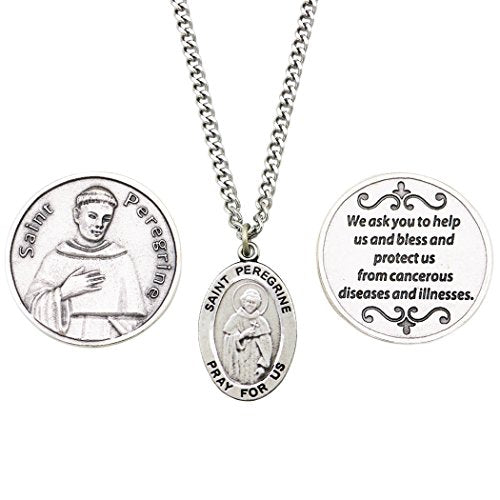 Saint Peregrine Pendant Necklace and 2 Religious Pocket Tokens