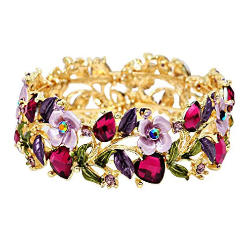 Crystal and Floral Vine Fashion Cuff Bracelet (Purple)