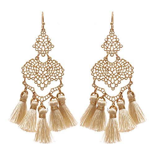 Thread Tassel Filigree Dangle Earrings (Gold Tone/Ivory)