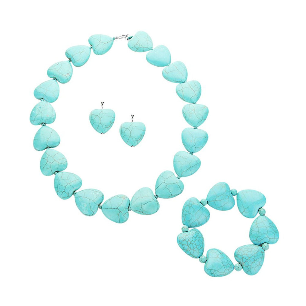 Heart Beaded Strand Jewelry Set Southwest Turquoise Color