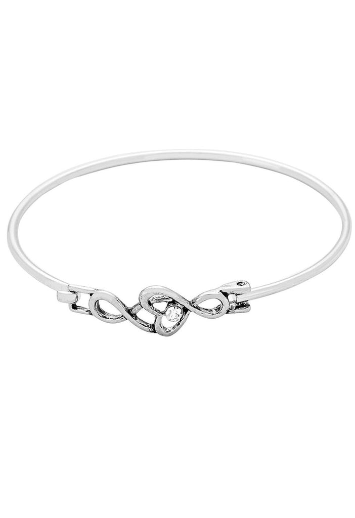 Infinity Heart with Crystal Accent Wire Bangle Bracelet Silver Color