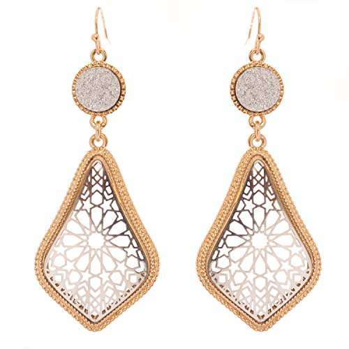 Druzy Stone and Moroccan Filigree Dangle Earrings (Silver Tone and Gold)