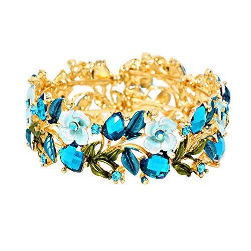 Flower and Vine Glass Crystal Fashion Cuff Bracelet (Blue)