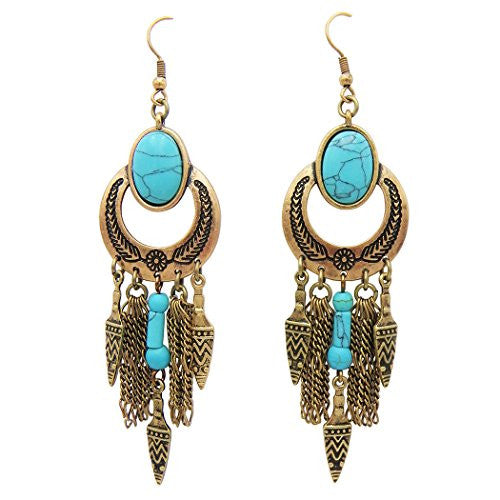Southwest Jewelry Turquoise and Arrowhead Dangle Earrings