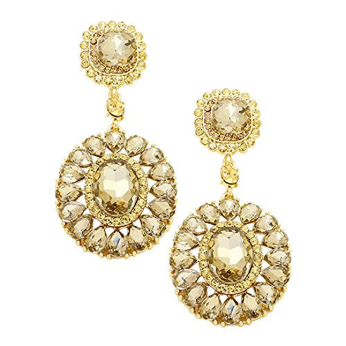Vintage Style Oval Crystal Statement Fashion Earrings (Light Topaz)